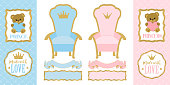 Throne chair for princess and prince. Set of cute vector elements of design for royal gender reveal party.
