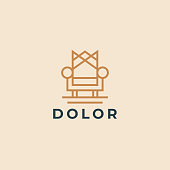 Throne logotype. Premium universal furniture logo. Luxury universal interior design symbol. Line armchair icon.