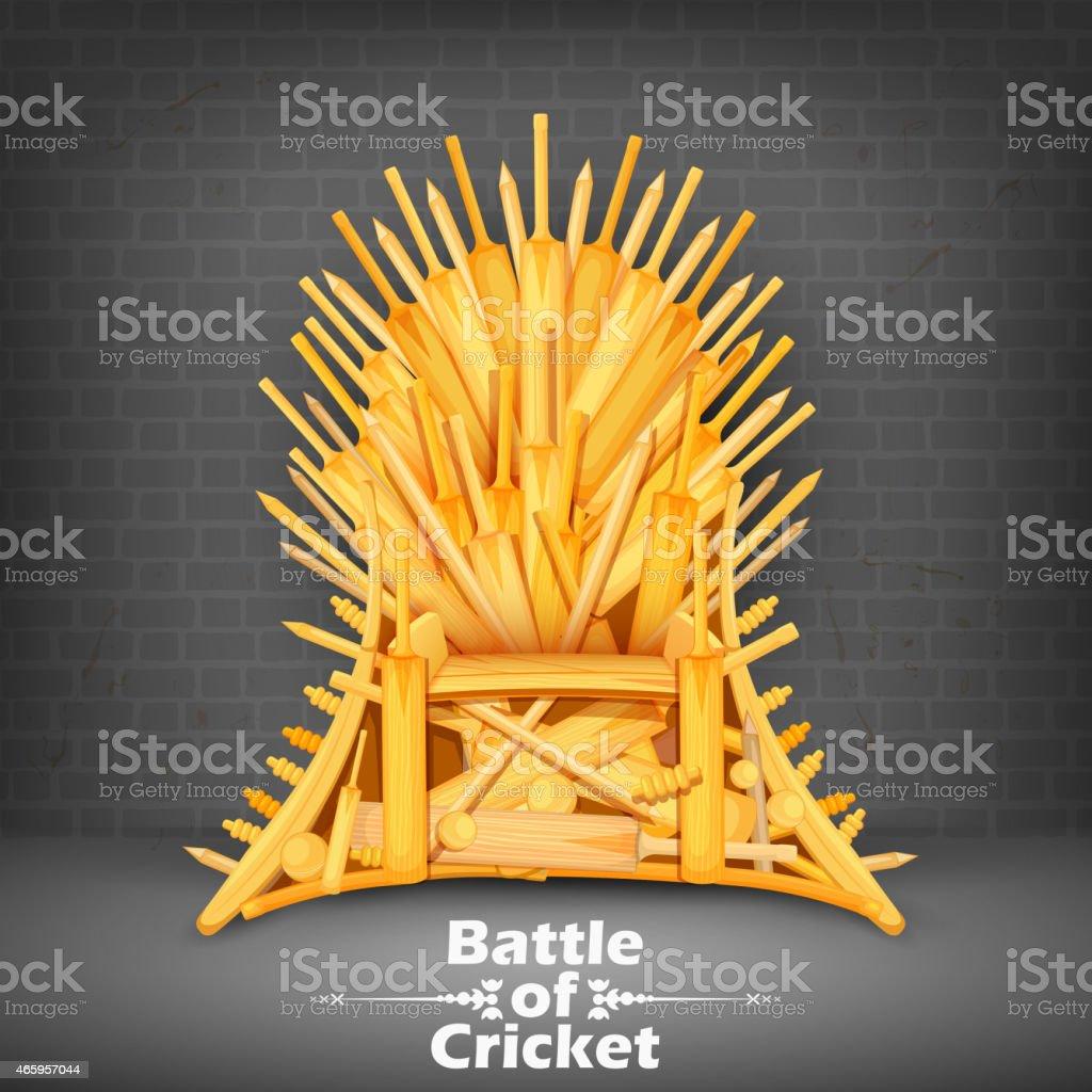 Throne made of Cricket bats vector art illustration