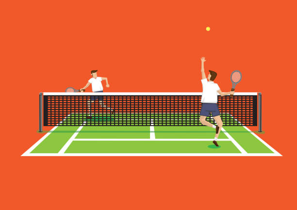 throw and serve tennis sport in tennis court vector illustration - jumping stock illustrations