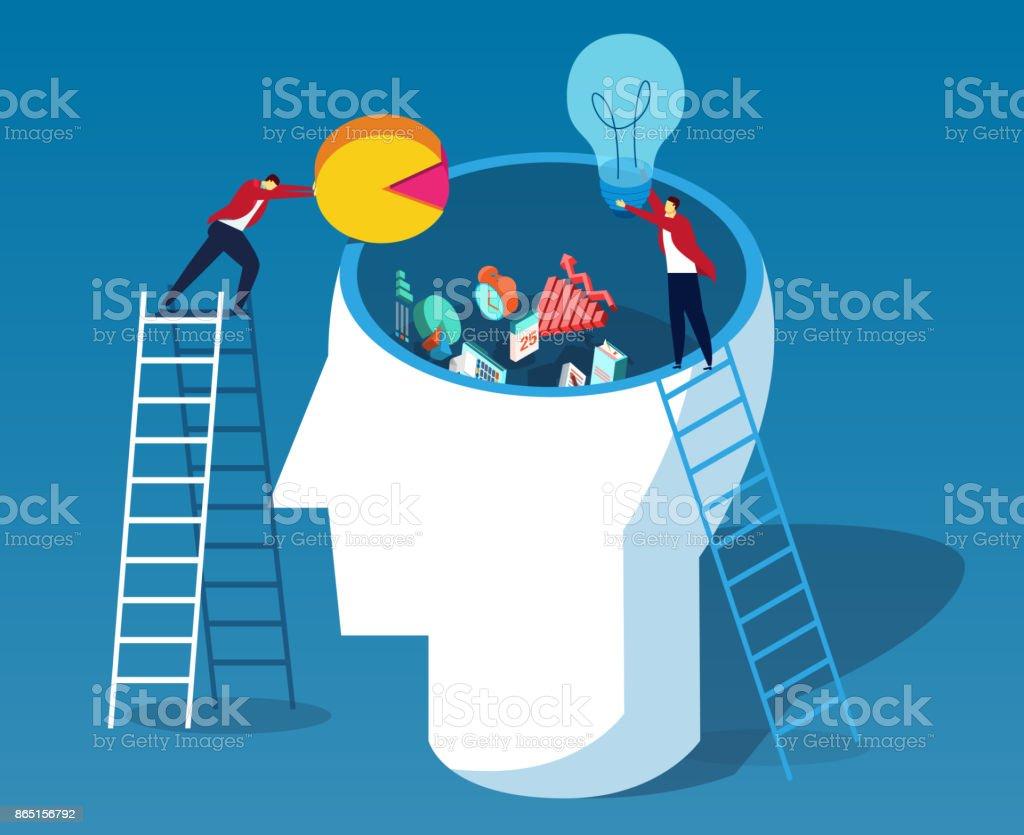 Throw data and ideas into the brain vector art illustration