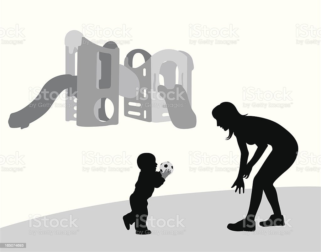 Throw It To Mom! Vector Silhouette royalty-free stock vector art
