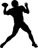 Silhouette of a Quarterback throwing. Simple shapes for easy printing, separating and color changes. File formats: EPS and JPG