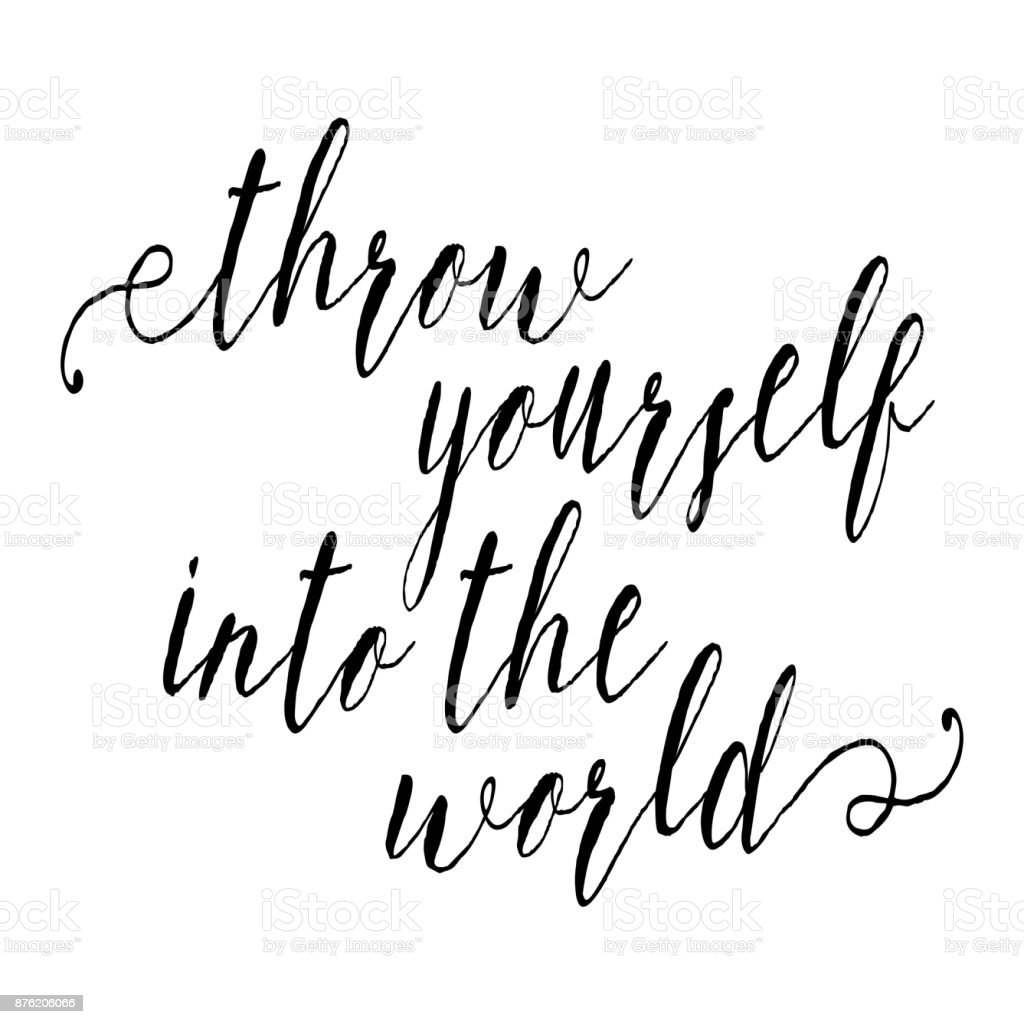 Throw yourself into the world inspirational quote about travel and letter script world map canada adventure gumiabroncs Images