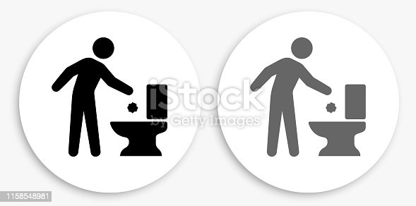 Throwing Away Trash Black and White Round Icon. This 100% royalty free vector illustration is featuring a round button with a drop shadow and the main icon is depicted in black and in grey for a roll-over effect.