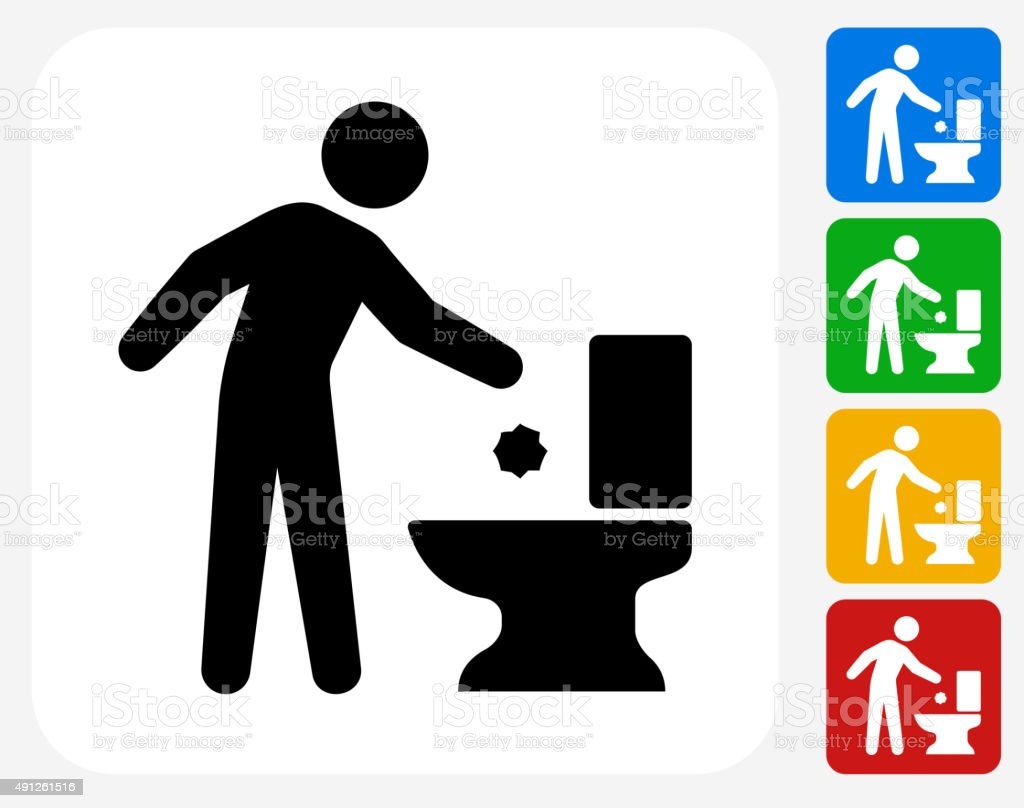 Throwing Away Trash Icon Flat Graphic Design Stock Vector