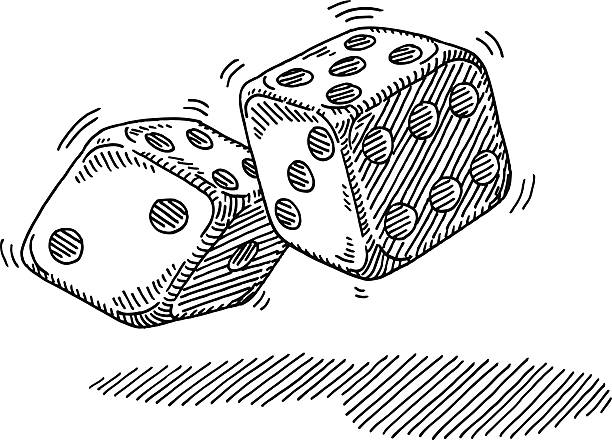 Throwing Pair Dices Drawing Hand-drawn vector drawing of a Throw of a Pair of Dices. Black-and-White sketch on a transparent background (.eps-file). Included files are EPS (v10) and Hi-Res JPG. game stock illustrations
