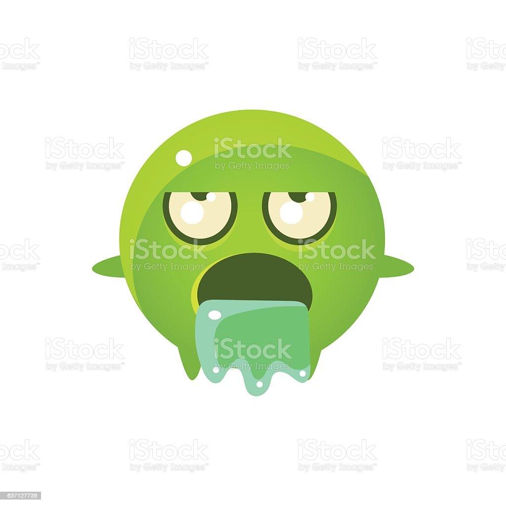Throwing Up Round Character Emoji vector art illustration