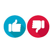 Thumb icon that shows the feeling of likes or dislikes on social media