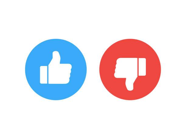 thumb icons. like and dislike. vector illustration. - naśladownictwo stock illustrations
