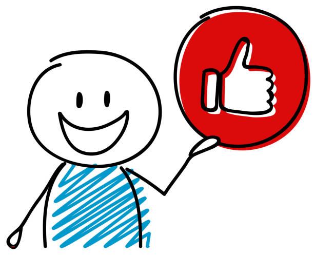 stockillustraties, clipart, cartoons en iconen met duim - zoals (sociale media) pictogram met gelukkig stickman. vector. - karikatuur