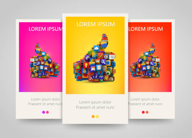 Thumb silhouette with many application icons banner set. vector art illustration