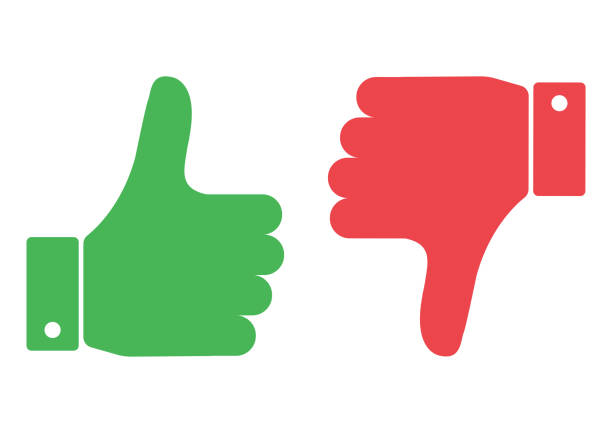 thumb up and down red and green. i like and dislike. vector illustration. - thumbs up stock illustrations
