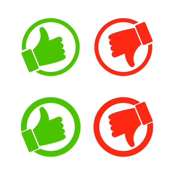 Thumb up and down red and green icons circle emblems illustration rules stock illustrations