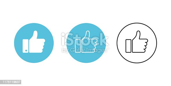 Thumb up blue circle isolated vector icons on white background. Button with thumb up for web design. Linear icon, outline hand icon. EPS 10