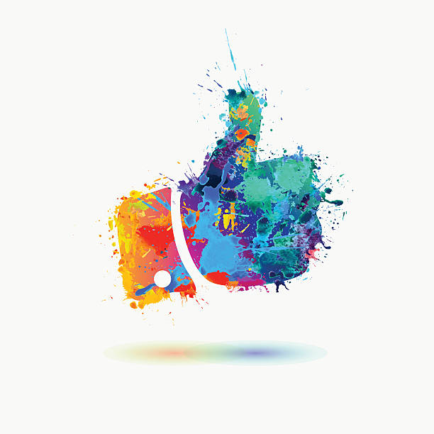 Thumb up colorful sign of watercolor splashes vector art illustration