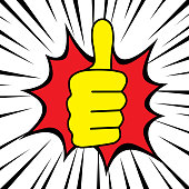 Thumb up and zoom comic style vector graphic design.