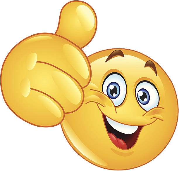 thumb up emoticon - happy emoji stock illustrations, clip art, cartoons, & icons