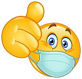 istock Thumb up emoticon with medical mask 1212500055