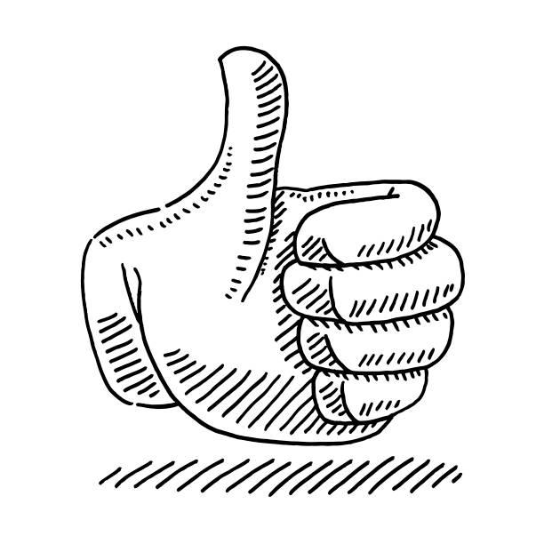 Thumb Up Icon Drawing vector art illustration