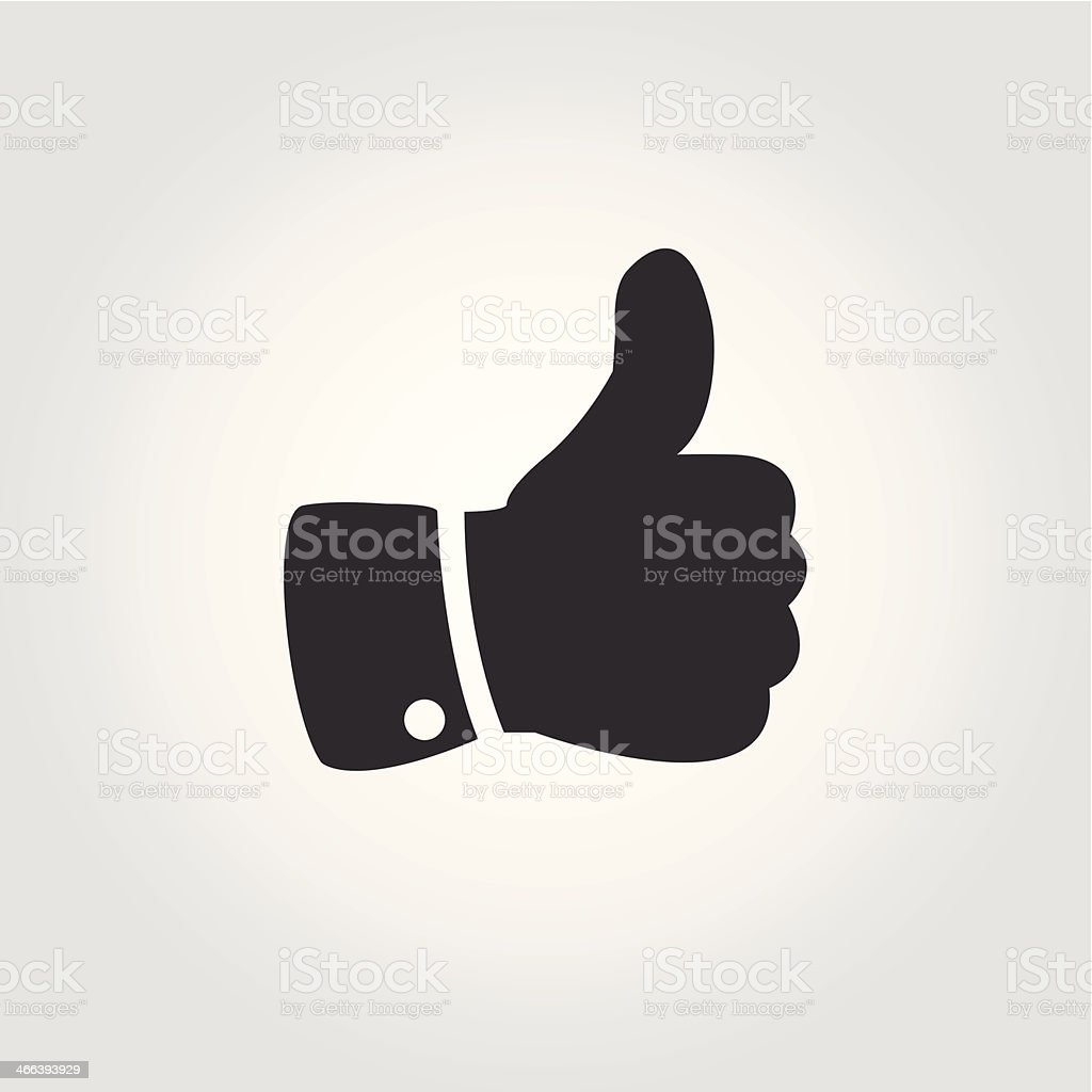 Thumb up icon, flat design vector art illustration