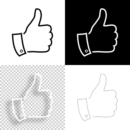 Thumb up. Icon for design. Blank, white and black backgrounds - Line icon