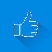Simplified Thumb Up icon on blue background for your needs. created by using illustrator and uploaded as eps 10 with large jpg. lines are