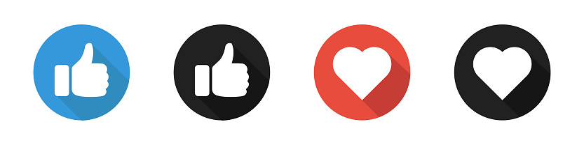 Thumb up like heart isolated icon set. Vector illustration. Social media symbol. Thumb up and like.