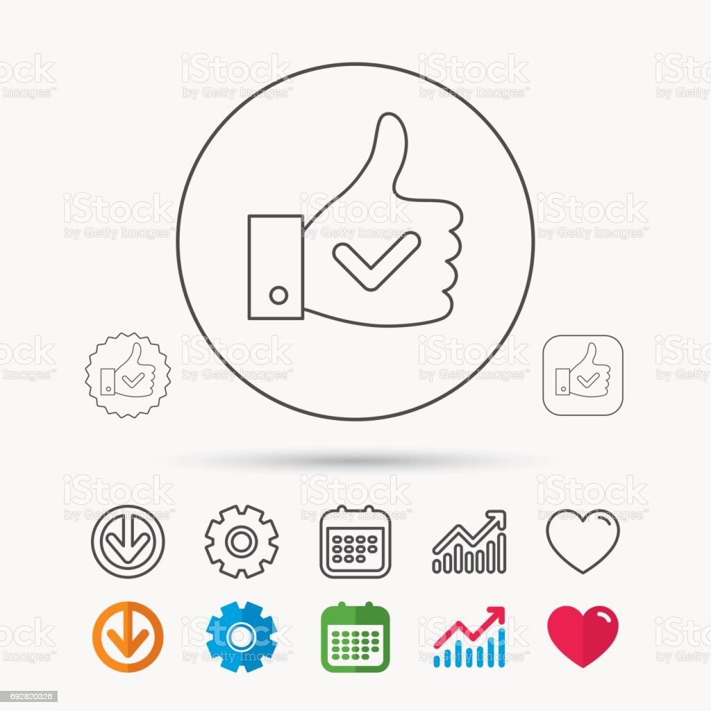 Thumb Up Like Icon Super Cool Vote Sign Stock Illustration