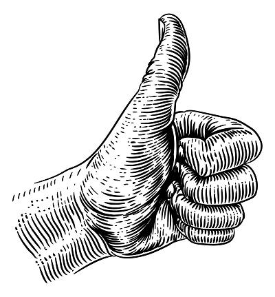 Thumb Up Sign Hand Retro Vintage Woodcut