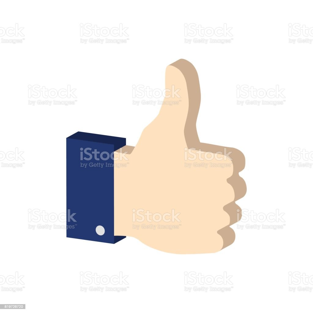 Thumb up symbol. Flat Isometric Icon. 3D Style Pictogram for Web Design, UI, Mobile App, Infographic. vector art illustration