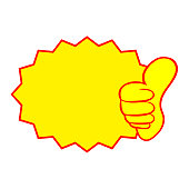 Thumb up vector with label icon on white background