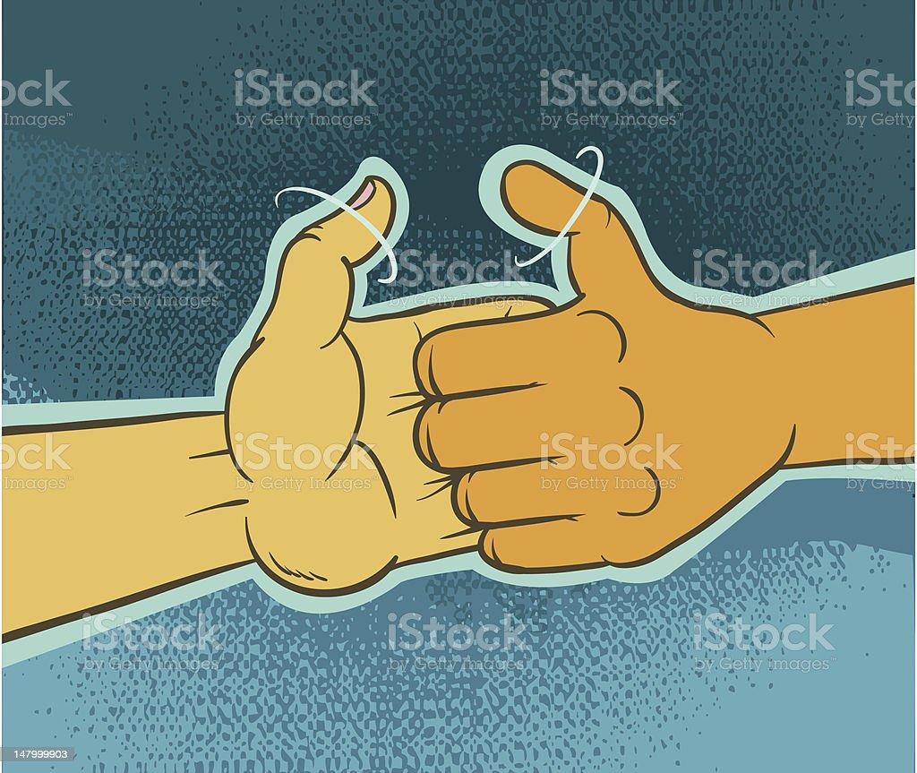 Thumb War- CHALLENGE! vector art illustration