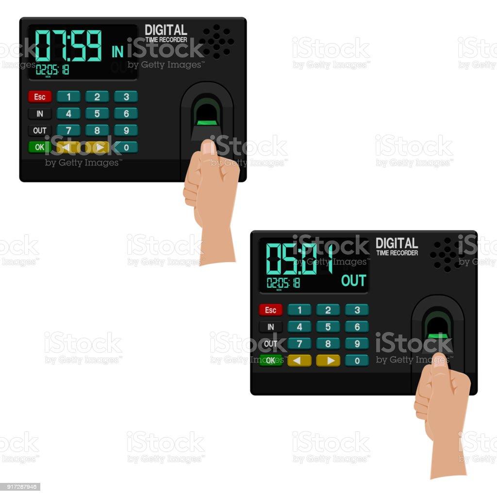 Thumb with Time recorder digital fingerprint  type vector art illustration