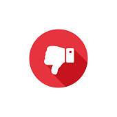 Thumbs down flat long shadow icon. Dislike button flat icon. Low rating sign icon concept.