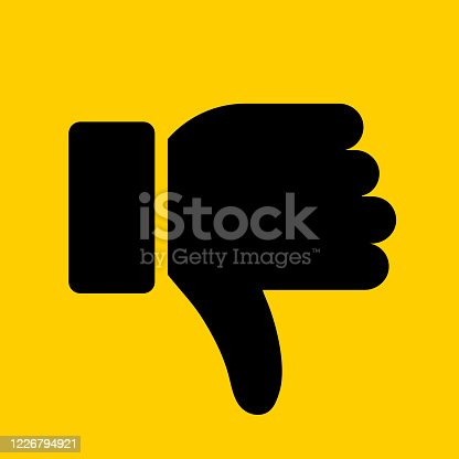Thumbs Down Icon. This 100% royalty free vector illustration is featuring a yellow flat background with the main icon depicted in black.