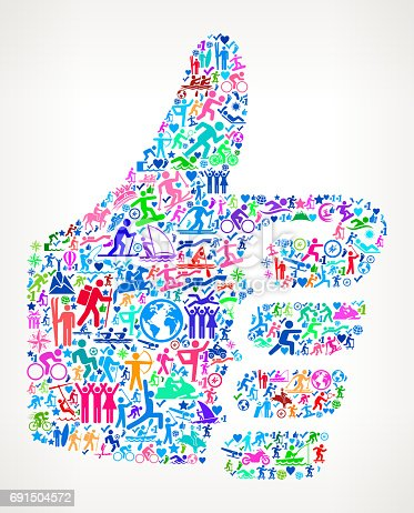 istock Thumbs Up  Active Lifestyle Vector Icon Pattern 691504572