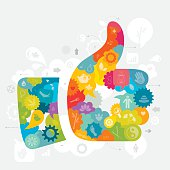 Vibrant thumb up symbol created from different overlapping elements like speech bubbles and gears - filled with different icons depicting alternative medicine.