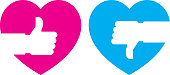 Vector illustration of a set of pink and blue thumbs up and down heart icons in flat style.