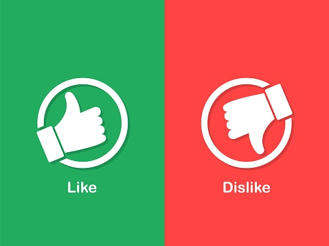 Thumbs up and down icon. White like and dislike icon. Do and Don't symbols
