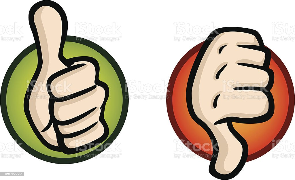 Thumbs Up and Down Icons vector art illustration