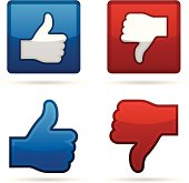 Thumbs up and thumbs down symbol icons.