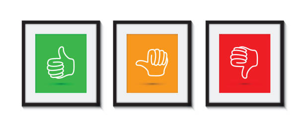 illustrazioni stock, clip art, cartoni animati e icone di tendenza di thumbs up and down in picture frames - beige