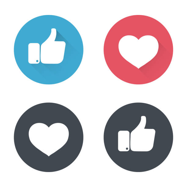Thumbs up and heart icon in a flat design. New like and love icons of Empathetic. social media icon Thumbs up and heart icon in a flat design. New like and love icons of Empathetic. social media icon love emotion stock illustrations