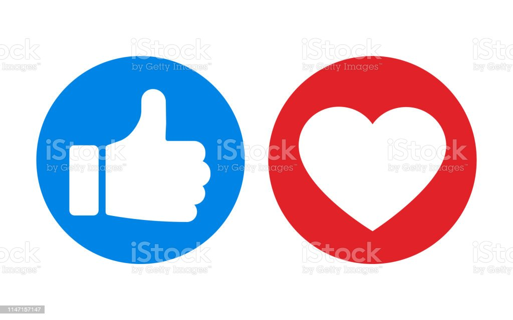 Thumbs up and heart icon isolated on white background. Vector illustration. - Royalty-free Abstrato arte vetorial