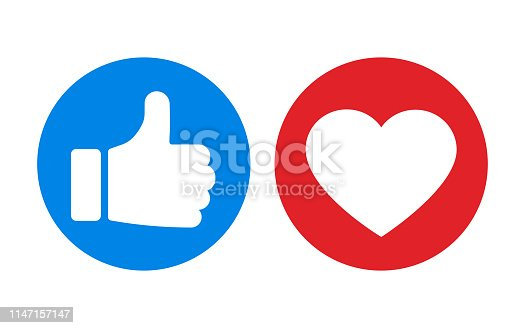 istock Thumbs up and heart icon isolated on white background. Vector illustration. 1147157147