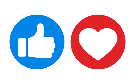 Thumbs up and heart icon isolated on white background. Vector illustration.