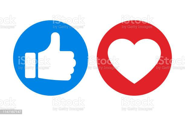 Thumbs Up And Heart Icon Isolated On White Background Vector Illustration - Arte vetorial de stock e mais imagens de Abstrato