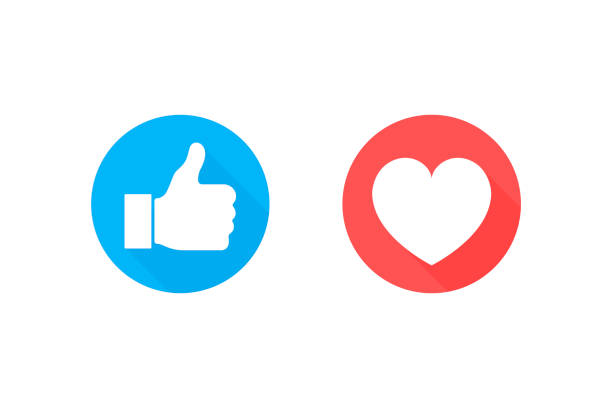 Thumbs up and heart icon on a white background. Modern flat style vector illustration Thumbs up and heart icon on a white background. Modern flat style vector illustration. imitation stock illustrations
