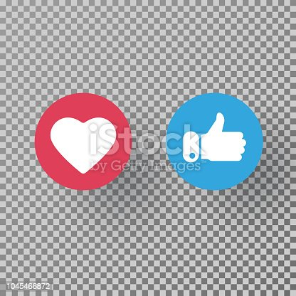 Thumbs up and heart icon on transparent background. Social media elements. Social network symbol. Counter notification icons. Emoji reactions. Vector illustration.